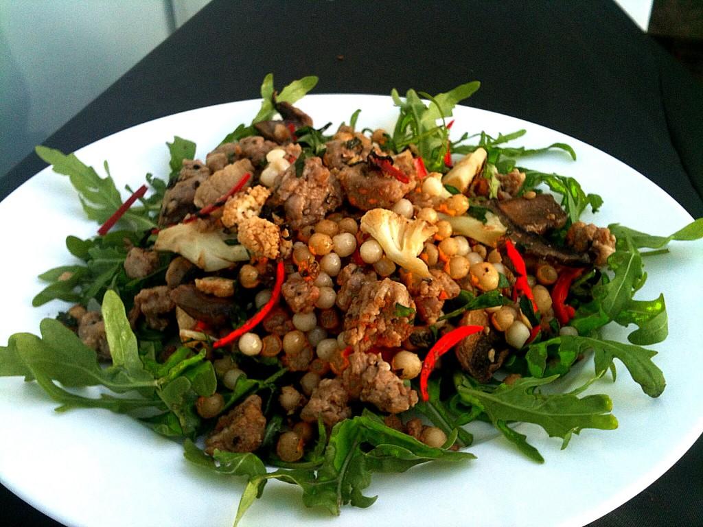 Merguez and moghrabieh salad